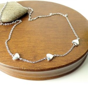 ❤️Heart Charm Silvertone Chain Necklace